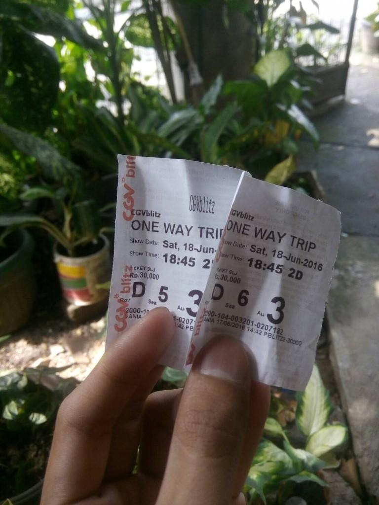Tiket One Way Trip di Blitz Megaplex Slipi. Sumber: Dok pri