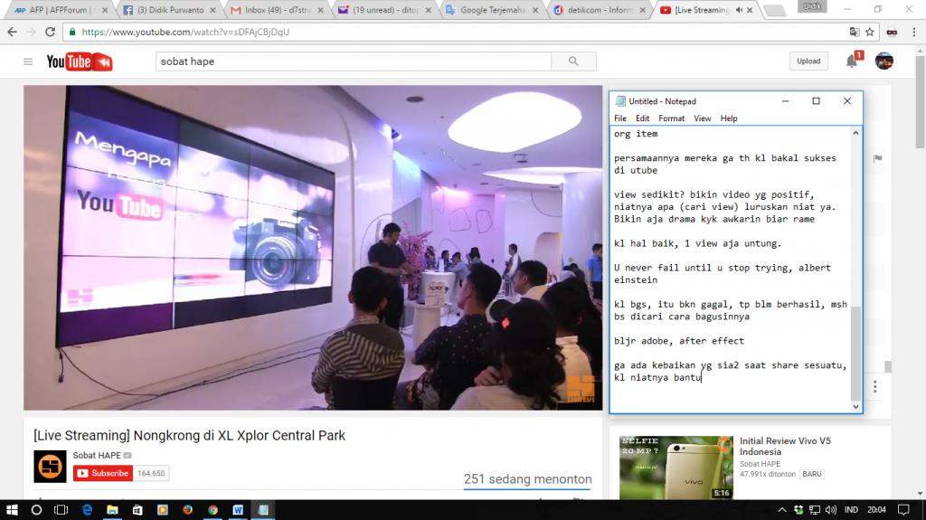 Live Streaming SobatHape di YouTube dari XL Experience Center Central Park Jakarta Barat. Sumber foto: Dokumen pribadi